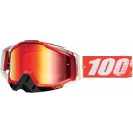 OFFER MOTOCROSS GOGGLE 100% RACECRAFT FIRE ANTI-FOG MIRROR RED LENS