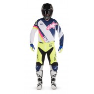 COMBO ALPINESTARS RACER SUPERMATIC 2018 COLOR BLANCO / AZUL OSCURO / AMARILLO FLUOR