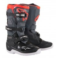 ALPINESTARS YOUTH TECH 7S BOOTS 2022 BLACK / DARK GRAY / RED FLUO COLOUR
