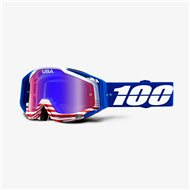MOTOCROSS GOGGLE 100% RACECRAFT ANTHEM - MIRROR RED / BLUE LENS