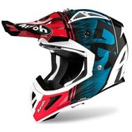 CASCO AIROH AVIATOR ACE KYBON 2020 COLOR AZUL/ROJO BRILLO