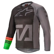 ALPINESTARS YOUTH RACER COMPASS JERSEY 2021 COLOR NEGRO / GRIS OSCURO / VERDE FLUOR