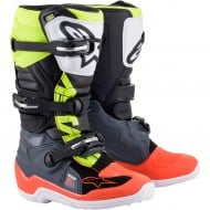 ALPINESTARS YOUTH TECH 7S BOOTS 2021 DARK GREY / RED FLUO / YELLOW FLUO COLOUR